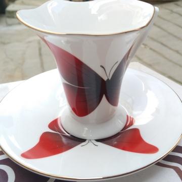 红蝴蝶-骨瓷咖啡杯 进口咖啡杯 创意咖啡杯 精美 时尚 经典杯型
