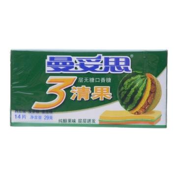 曼妥思 清果3层无糖口香糖 西瓜味-菠萝味-蜜瓜味 泡泡糖 零食 14片