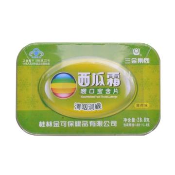 【瀚银通、健保通】三金 西瓜霜喉口宝含片(薄荷味)(铁盒装) 28.8g(1.8g*16片)