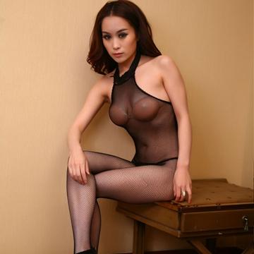 黑色翘臀挂脖开裆网袜质性感连体袜 开裆网袜 情趣内衣