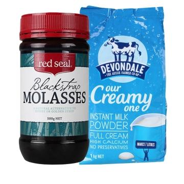 【海外直采 国内发货】Devondale 德运高钙全脂成人奶粉1kg +红印黑糖500g