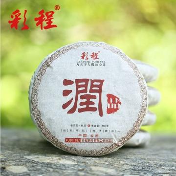 【彩程茶叶】 普洱茶 2015年润品 熟茶 大叶种晒青毛茶 100克熟饼
