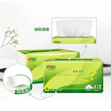 DT15130(箱装)心相印茶语丝享系列130抽三层塑装纸面巾(电商)6包*3提(130抽)