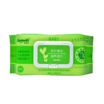 婴唯爱 柔护清洁滋养湿巾 80抽 植物萃取亲肤 弱酸性配方 清洁滋养