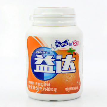 益达 木糖醇 无糖口香糖(香橙薄菏味)_56g(约40粒)