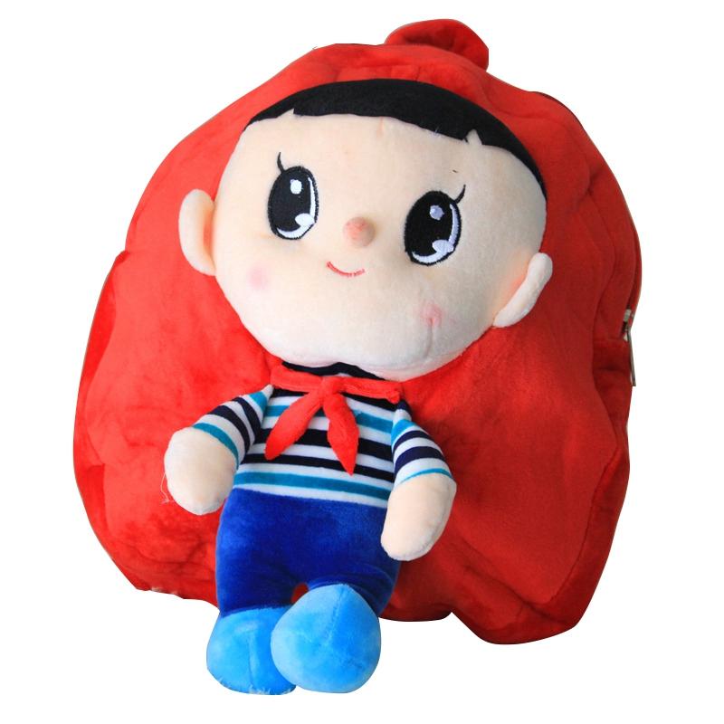 可爱卡通动漫毛绒玩具 公仔玩偶红色大头 儿童幼儿园书包 新颖的小