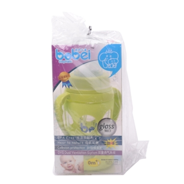 邦贝小象 宽口防爆玻璃奶瓶 双层保温防烫 宝宝用品 防胀气 防呛奶