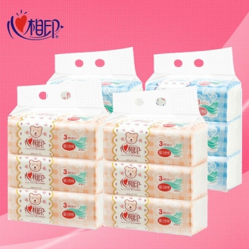 DT1120 心相印婴用型120抽三层塑装纸面巾升级版(电商专供)3包*6提(120抽)