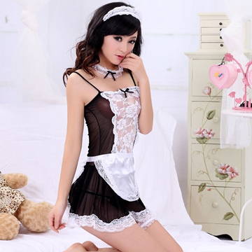 马提亚黑色开叉美臀甜美女仆游戏服 情趣内衣 黑色女仆装