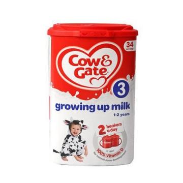 英国Cow&Gate牛栏婴幼儿配方奶粉3段(1-2岁宝宝 900g)*6罐 新旧包装随机发