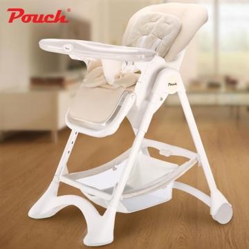 Pouch欧式婴儿餐椅 儿童多功能宝宝餐椅 可折叠便携式吃饭桌椅座椅  型号K05 奶酪白