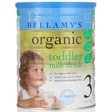 【保税区发货】澳洲Bellamys贝拉米有机婴幼儿奶粉3段900g 2罐包邮