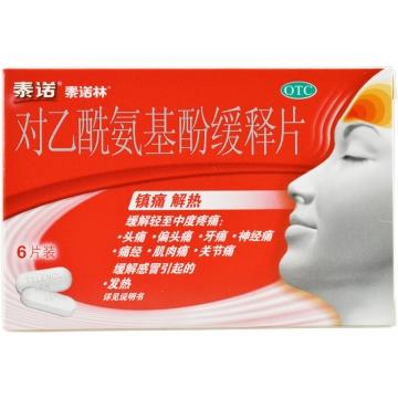 【瀚银通、健保通】泰诺林 对乙酰氨基酚缓释片 薄膜衣片 0.65g*6片*1板