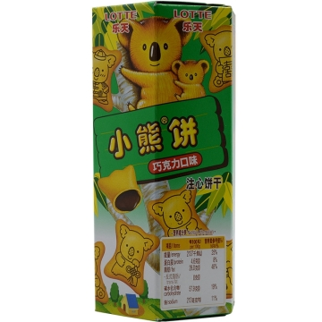 乐天小熊饼 巧克力口味注心饼干 宝宝零食 49g 盒装