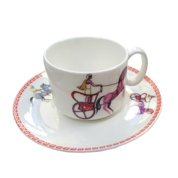 战车图案咖啡杯 意式骨瓷咖啡杯 精致创意咖啡杯、精美、时尚、经典杯型