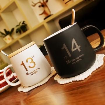 简约马克杯-黑色(1马克杯+1盖+1勺)咖啡杯牛奶杯 干练、时尚、经典