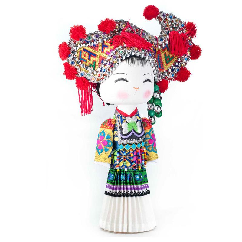 云南民族特色工艺品民族木娃娃 甜甜啊娃 彝族+13*12*