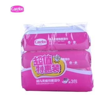 爱护Carefor 超值特惠装婴儿无香棉柔湿巾80片*3包 宝宝儿童湿纸巾 手口巾