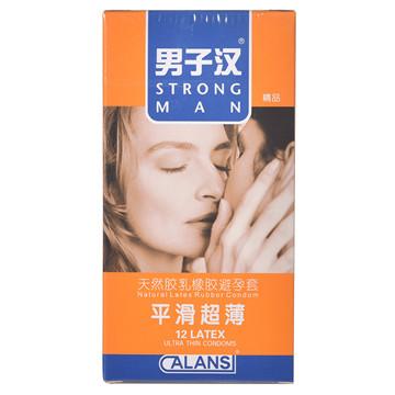 【健保通】男子汉平滑超薄天然胶乳橡胶避孕套 52±2mm*12只
