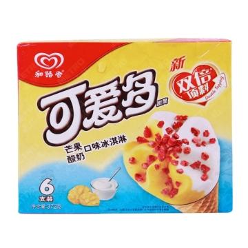 【一心到家】和路雪 可爱多甜筒 芒果酸奶口味冰淇淋 6支装372g/盒
