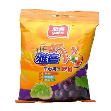 雅客 V9夹心果汁软糖 葡萄味 60g 糖果 休闲零食