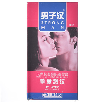 【健保通】男子汉挚爱激纹螺纹型天然胶乳橡胶避孕套 52±2mm*12只