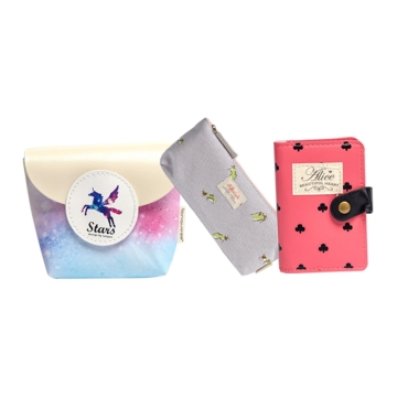 蓝果LG-5235/梦幻星空-零钱包+蓝果LG-3810生态圈-笔袋+蓝果LG-3892爱点点-卡包