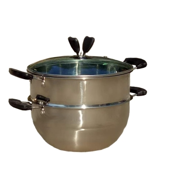 二层多用蒸锅不锈钢材质方便收纳节省空间经久耐用外观漂亮 非常实用(双层蒸锅 直径24CM)