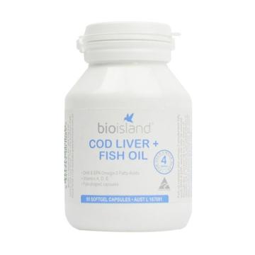 【海外直采 国内发货】Bio island 婴幼儿鳕鱼肝油+DHA鱼油胶囊90粒*2