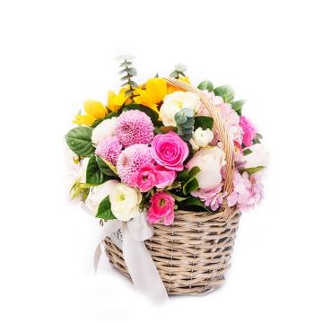 鲜花 花篮 任性女王 绣球 玫瑰 向日葵 栀子叶 鲜花花蓝