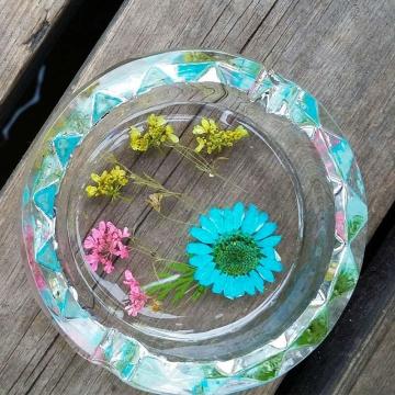 玫瑰花瓣 真花80水晶烟缸 玫瑰花绣球花太阳花四叶草 送朋友家人自用皆可 全国包邮