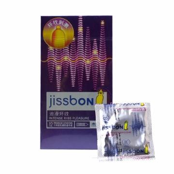 杰士邦浪漫环纹香草香避孕套3只 天然乳胶保险安全套套 成人性用品