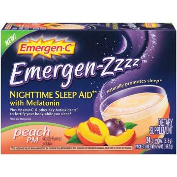 美国 Emergen C 益满喜睡眠型VC泡腾粉蜜桃味24包