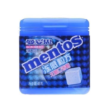 曼妥思 冻感粒方无糖口香糖 薄荷 46g 泡泡糖 休闲零食