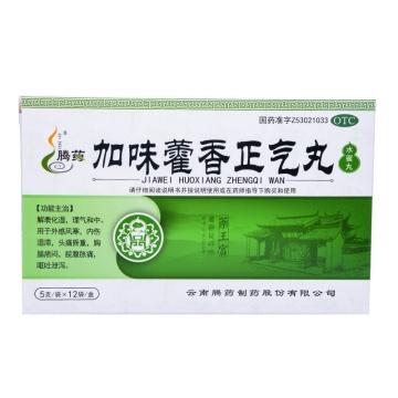 【瀚银通、健保通】腾药 加味藿香正气丸(水蜜丸) 5g*12袋 解表化湿 理气和中
