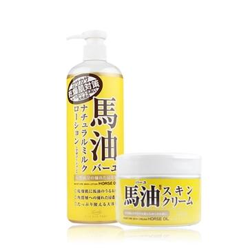 日本Loshi北海道滋润保湿马油身体乳485ml+身体霜220g组合套装