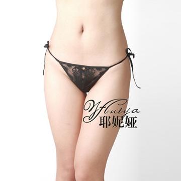 纤纤佳人小裤 黑色薄纱 侧边系带 性感诱惑 女士情趣内裤