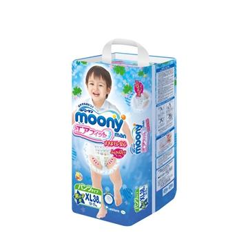 【保税区发货】日本进口尤妮佳 Moony 拉拉裤男宝宝XL38 12-17kg 2包包邮