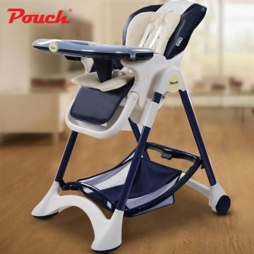 Pouch欧式婴儿餐椅 儿童多功能宝宝餐椅 可折叠便携式吃饭桌椅座椅  型号K05 藏青色