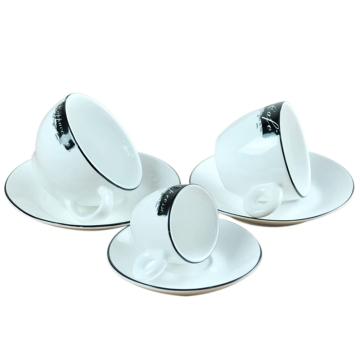咖啡杯黑边 精美、情侣、骨瓷套装咖啡杯、精美、时尚、经典杯型