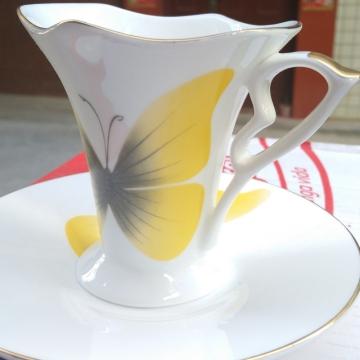 黄蝴蝶-骨瓷咖啡杯 进口咖啡杯 创意咖啡杯 精美 时尚 经典杯型