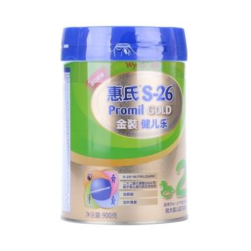 惠氏S-26金装健儿乐较大婴儿配方奶粉2段(易安盖)_900g