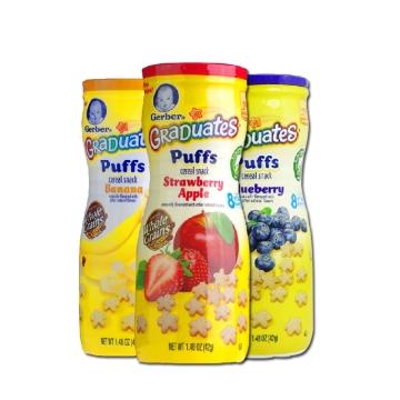 【海外直采 国内现货】嘉宝星星泡芙42g*3 营养零食 蓝莓味/草莓苹果味/香蕉味三种口味