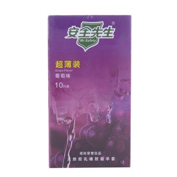 【健保通】诺丝安全先生超薄装葡萄味天然胶乳橡胶避孕套 10只装