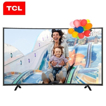 TCL L48P1-CUD 48英寸 4K曲面 安卓智能HDR液晶电视机 黑色