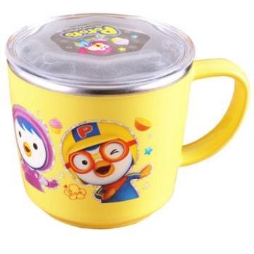 韩国直邮Pororo宝露露不锈钢透明黄盖儿童水杯225ml