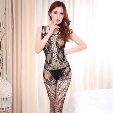 大洞露乳诱惑性感紧身开裆连体网衣连体袜 情趣内衣
