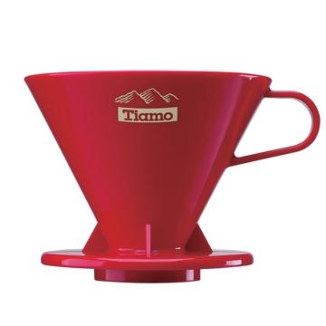 tiamo咖啡器具 高档pc冲杯滤杯 滤器 手冲咖啡过滤器V02-红色
