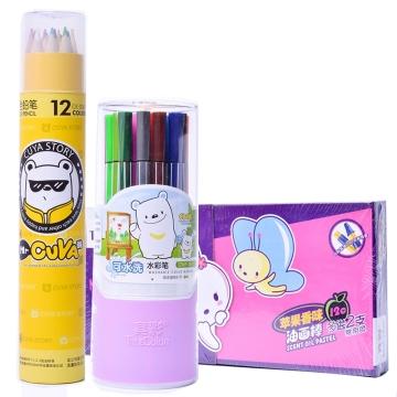 真彩2346-12色油画棒+真彩CWP-2600-24水彩笔+真彩CK-036-1212色彩铅笔